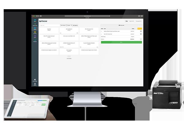 Servicepos kassesystem vist på skærm